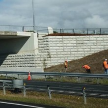 Motorway precast retaining walls. North of